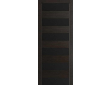 Дверь 8Z Венге Кроскут Черное стекло