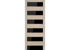 Дверь 8Z Капучино Кроскут Черное стекло